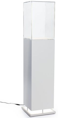 "13"" Pedestal Display Case w/ Bottom Lit, Interior LED Lights - White"