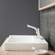 Dorf Arona Basin Mixer, piared with Caroma Basin. #dorf #dorfstyle #tap #bathroom #design #styling #decor #timber #caroma #home #basin #inspo
