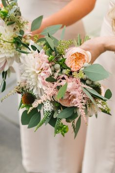 Bouquet Flowers Bridesmaids Dahlia Rose Astilbe Peach Blush Opulent Metallics City Library Wedding http://www.croandkowlove.com/
