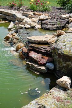 Rock water feature detail #TopekaLandscape