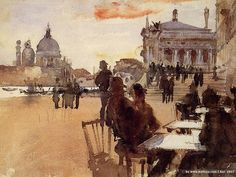 John Singer Sargent 'Cafe on the Riva degli Schiavoni'