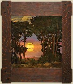"""Sunset on the Coast"" | Jan Schmuckal | Dard Hunter Studios Frame | Arts and Crafts | Bungalow | Impressionism"