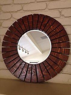 handmade special walnut round sunburst wall mirror wood frame