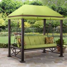 Better Homes and Gardens Sullivan Pointe 3-Person Outdoor Swing with Gazebo, Green - Walmart.com