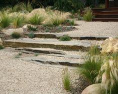 El Pueblo Viejo Garden: Located in Santa Barbara, California, U. Designed by Margie Grace of Grace Design Associates also based in Santa Barbara Dry Garden, Gravel Garden, Garden Paths, Gravel Pathway, Pea Gravel, Walkways, Landscape Steps, Landscape Design, Green Landscape