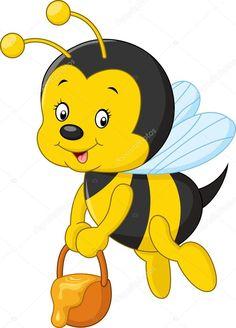 Vektoros illusztráció, repülő méh rajzfilm gazdaság kanál méz Art Drawings For Kids, Disney Drawings, Drawing For Kids, Animal Drawings, Cute Drawings, Rock Painting Designs, Painting Patterns, Fabric Painting, Cartoon Bee