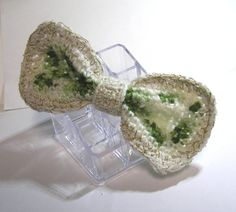 Hand made  designed  CROCHET GREEN white  BOW by rankaswedding