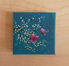 Tiny Turquoise Canvas, Yellow and White Cherry Blossom with Butterflies, Original Acrylic Painting, Miniature Painting, Art & Collectibles Small Canvas Paintings, Small Canvas Art, Mini Canvas Art, Small Paintings, Small Art, Acrylic Art, Acrylic Painting Canvas, Diy Painting, Acrylic Painting On Paper