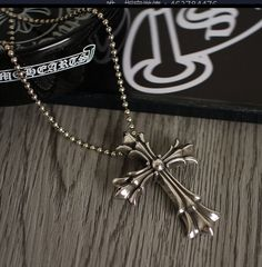 3f53c73cb035 CHROME HEARTS DOUBLE CROSS FLORAL NECKLACE   PENDANTS BALL CHAIN STERLING  SILVER