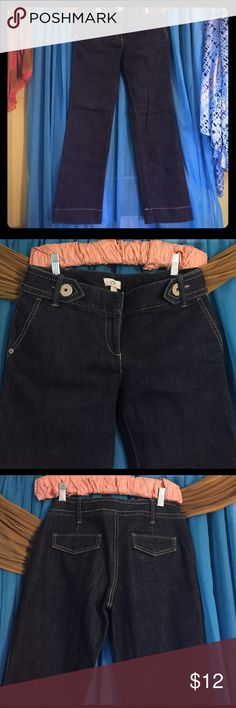 ANN TAYLOR LOFT Trouser Jeans-Size 0 Trouser jeans with accented stitching, flap rear pockets,  & buttons on waist band. Retails at $69 Ann Taylor Loft Jeans