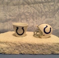 NFL MINIATURE PORCELAIN CUP (2007) & MINIATURE HELMET (2010) Indianapolis Colts #IndianapolisColts