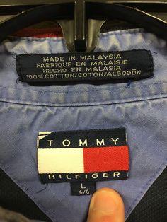 fd6eb2c11 Vintage 90's Tommy Hilfiger Multi Color Polo Casual Shirt Men's L Lion Crest