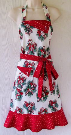 Christmas Apron, Retro Christmas Apron with Candy Canes and Christmas Bells, Red Polka Dots, Vintage Style , KitschNStyle Christmas Aprons, Christmas Sewing, Retro Christmas, Christmas Bells, Crochet Christmas, Christmas Angels, Eclectic Fabric, Cute Aprons, Sewing Aprons