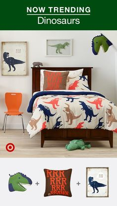 Time to let out a big rawr over mini T-Rexes and more Boys & girls are loving dinosaurs right now. Find dino decor ideas for your kids' bedroom or nursery. With fun dino designs like these, every day will be a dinosaur party. Romantic Bedroom Decor, Boys Bedroom Decor, Bedroom Ideas, Childrens Bedroom, Bedroom Styles, Toddler Rooms, Toddler Boy Room Decor, New Room, Dinosaur Party