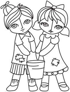 jack and jill nursery rhyme coloring page hand embroidery