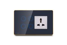 Hogar Controls Designer Smart Touch Switch Panels - z-wave zigbee - 4 touch plus universal socket Gray on Gold white bazzle front view
