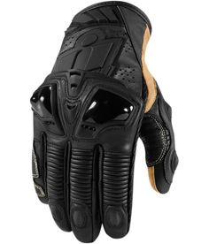 ICON Hypersport Short Glove - Stealth. Black and Gold Leather Glove. Motorcycle Short Glove.