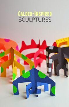 Sculptures (and our favorite art books!) Easy Kids art idea- Make Calder-inspired paper sculptures!Easy Kids art idea- Make Calder-inspired paper sculptures! Sculpture Lessons, Sculpture Projects, Book Sculpture, 3d Art Projects, Projects For Kids, Project Ideas, Classe D'art, Easy Art For Kids, Ecole Art