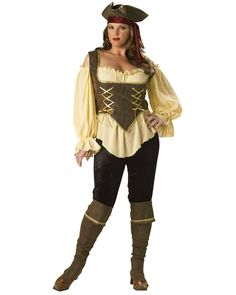 Elite Rustic Pirate Lady Costume | Plus Size Pirates Womens Halloween Costumes