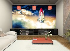 Space Shuttle WALLPAPER MURAL Boy Room Cosmos Wall ART Teenager DECOR POSTER #Unbranded