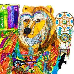 Bear Spirit Animal Abstract Art Painting Stretched Canvas Print, Colorful Wall Hanging, Bohemian Home Decor, Native American Shamanic Art Hanging Canvas, Hanging Art, Canvas Wall Art, Canvas Prints, Framed Canvas, Wall Prints, Bear Spirit Animal, Animal Spirit Guides, Spirit Bear