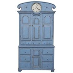 Antique Swedish Tall Blue Painted Clock Cabinet Early 19th Century   From a unique collection of antique and modern cabinets at https://www.1stdibs.com/furniture/storage-case-pieces/cabinets/