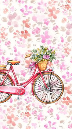 Floral bike Cute Wallpaper Backgrounds, Flower Wallpaper, Cute Wallpapers, Iphone Wallpaper, Tumblr Wallpaper, Wallpaper Ideas, Bicycle Wallpaper, Wallpaper Fofos, Bff Drawings