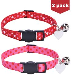 2 Set Embroidered Breakaway Cat Collar with Bell and Heart Charm *** Click on the image for additional details. (This is an affiliate link and I receive a commission for the sales)