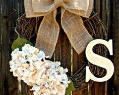 Burlap Monogram Wreath Monogram Wreath Burlap by SouthernThrills