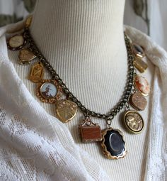 Stunning Victorian Assemblage Collage Necklace Choker Charms antique lockets mourning brooch buttons trinkets memento mori  jewelry vintage by OldNouveau on Etsy https://www.etsy.com/listing/463050518/stunning-victorian-assemblage-collage