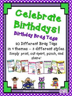 Birthday Brag Tags Free by Sassycat Corner Classroom Birthday, Superhero Classroom, Free Birthday, Birthday Kids, Student Birthdays, Brag Tags, Behaviour Management, Classroom Community, Growth Mindset