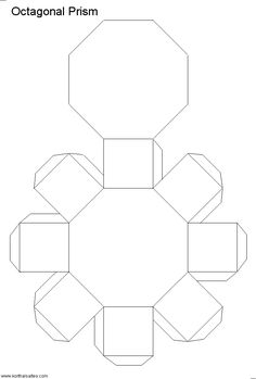 Paper model of a octagonal prism. The octagonal prism is made of two octagonal bases and eight rectangular sides. Nets (templates) and pictures of the paper octagonal prism. 3d Geometric Shapes, Printable Shapes, Diy And Crafts, Paper Crafts, Box Patterns, Paper Gift Box, Ideias Diy, Miraculous Ladybug Anime, Paper Folding