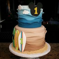 Mickey's surf theme birthday party cake! See more party planning ideas at CatchMyParty.com!