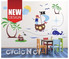 Pirates Wall Decals. Arrrr! Create Treasure Map right on the wall. Fun colorful Large Wall Decals include Pirate, Treasure Chest with Parrot, Whale and more. Perfect in boys room!  Easy to apply and remove.This set is handmade using Top-Quality Matte Vinyl. Add your personal touch to any space, switch themes in child's room. Just easy peel and stick! FREE testing decal is included.
