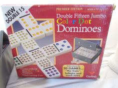 Cardinal Dominoes Double Fifteen 15 Jumbo Shiny Color Dot Vinyl Case  1996 #Cardinal