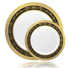 Hosting a party? Change the look of your table and awe your guests with these White plastic plates. With its fine Gold/Black rimed border and elegant design these plates are sure to bring your event to the next level. Quit the hassle of washing dishes go green go Disposable a luxurious look of... - http://kitchen-dining.bestselleroutlet.net/product-review-for-posh-setting-royal-collection-combo-pack-china-look-white-goldblack-plastic-platesincludes-8-packs-of-10-plates-40-10