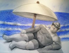 Fernando Botero, Man at the Beach