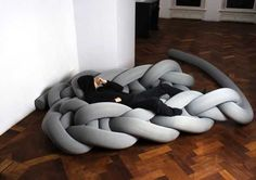 Giant Knitted Contemporary Furniture and Floor Rugs, Unusual Interior Design Ideas