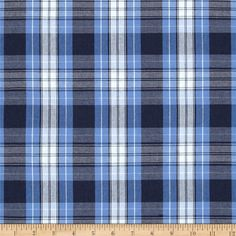 Poly/Cotton Uniform Plaid Blue/Navy/White from @fabricdotcom  This lightweight woven fabric is yarn dyed with a full-bodied drape. It is perfect to use for skirts, jumpers, school uniforms, kilts, and blazers. Remember to allow extra yardage for pattern matching.