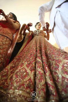 auburn red bridal lehenga by Tarun tahiliani , all over bridal lehenga, regal ,royal ,heavy, ornate, sikh bridal lehenga, anand karaj