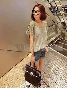 セクシーなかぎ針編み花と半袖Tシャツジョイント2013新着ヴォーグ韓国スタイルスプリット