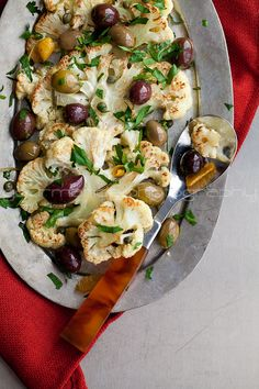 Roasted Cauliflower with Olives and Herbs | gourmandeinthekitchen.com