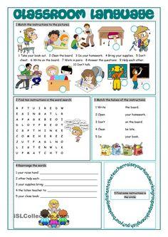 Classroom Language Vocabulary Exercises