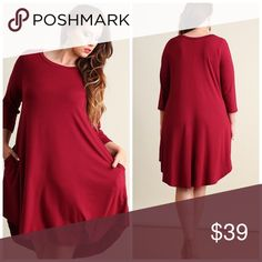 "Most Comfortable Dress Ever-Wine AVAILABLE FRIDAY!!  Same dress as Your Favorite Black Dress!! Scoop neck, scalloped hemline.   Bust - XL 42"", 1X 44"", 2X 46"", Length 35"".   95% Rayon 5% Spandex Dresses"