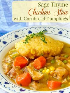 Sage Thyme Chicken Stew with Cornbread Dumplings. An easy to make chicken stew that's ready in only about 2 hours with fresh herb flavours to enhance the rich gravy. The cornbread dumplings are the perfect addition to this satisfying comfort food meal. Easy Chicken Stew, Chicken Soup Recipes, Chicken And Dumplings, Chicken Soups, Cornmeal Dumplings, Rock Recipes, Fall Recipes, Saag, Soup And Salad
