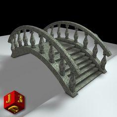 classical garden bridge 3d 3ds
