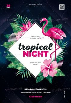 Tropical Night PSD Flyer Template and more than Premium PSD flyer templates for event, loud party or successfull business. Graphic Design Flyer, Design Poster, Flyer Design, Make Design, Design Design, Identity, Psd Flyer Templates, Creative Flyers, Event Flyers