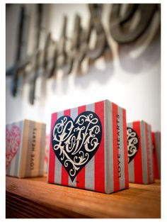 #packaging #lettering #typography | House Industries, House 1151, Love Letters Exhibit, Love Hearts Blocks, Uncle Goose