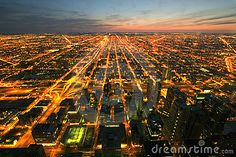 Photo about Night time aerial view of Chicago Illinois. Image of dusk, streets, city - 959627 City Sky, Chicago Photos, Sky View, Night City, Chicago Illinois, Photo Reference, Online Images, Aerial View, View Photos
