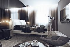 #Masculine bedroom with an overall black and grey #hue and #telescope